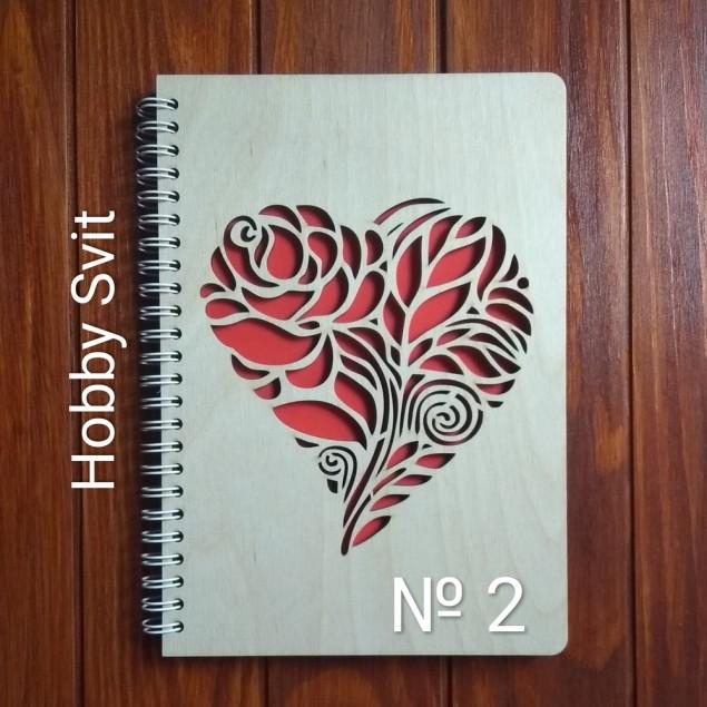 Троянда, блокнот з дерев'яною обкладинкою